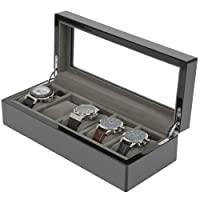 Pierce Watch Box 5 Watches Carbon Fiber Black Grey Finish Large Compartments High Clearance Glass Window by Tech Swiss