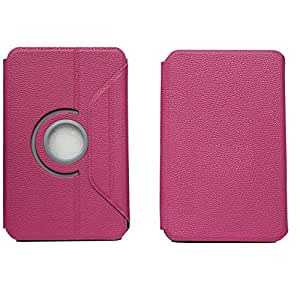 BRAIN FREEZER G14 ROTATING LEATHER DESIGN 7INCH FLIP FLAP CASE COVER POUCH CARRY FOR SAMSUNG TAB 7 EXOTIC PINK