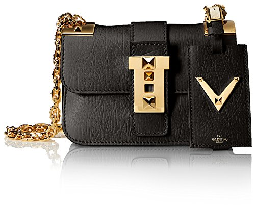 Valentino-Womens-Chain-Shoulder-Strap-Bag-Black