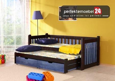 PHILIPP Hochbett inkl. LATTENROST und MATRATZE Kojenbett Etagenbett Kinderbett Spielbett Massiv Kiefer Öko-Lack Bett