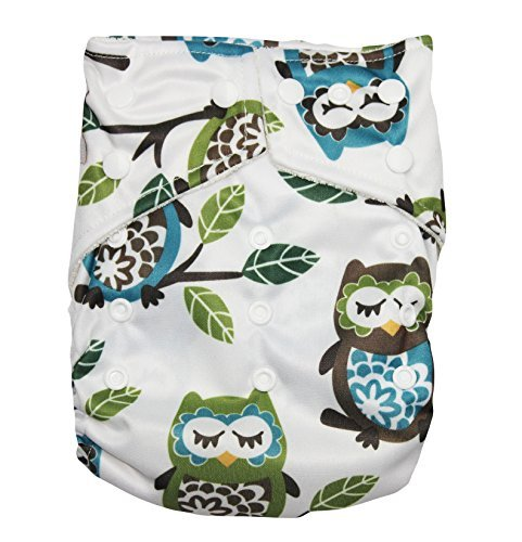 "Kawaii Baby One Size Organic Bamboo Terry Cloth Diaper with 2 Bamboo Inserts "" Owls "" - 1"