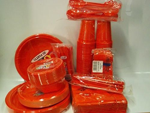 Set da tavola party piatti bicchieri posate tovaglioli color arancio