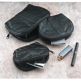 Embassy By Giovanni Navarre 3 Pc Italian Stone Design Genuine Leather Travel/make-up Bag