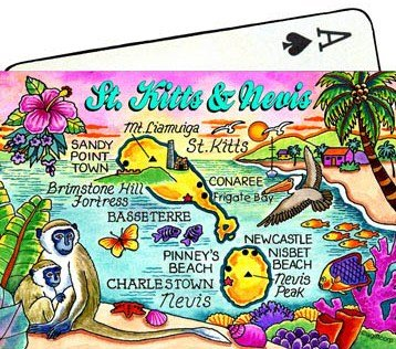St.Kitts & Nevis Map Collectible Souvenir Playing Cards