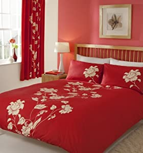 Chantilly Quilt Duvet Cover & Pillowcase Bed Set RED - KINGSIZE