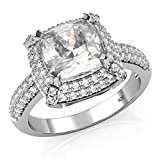 Sz 7 Sterling Silver 925 Cubic Zirconia CZ 3 Ct. Cushion Cut Halo Engagement Ring