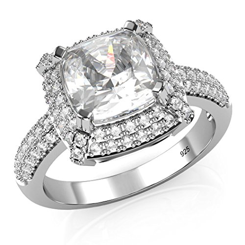 Sz 8 Sterling Silver 925 Cubic Zirconia CZ 3 Ct. Cushion Cut Halo Engagement Ring