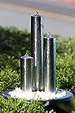 Köhko 102 cm Springbrunnen 22005 aus Edelstahl mit LED-Beleuchtung Säulenbrunnen