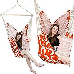 Amaca XXL | Amaca in tessuto di cotone per 2 persone | amaca peso max. 150 kg | grande amaca per dondolarsi in tessuto 185x130 cm | dondolo 100% cotone | Amaca incl. perno girevole | arancione con motivi a semicerchio