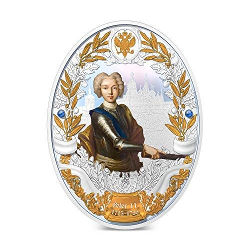 2014 Niué - Russian Emperors - Peter II - Selective Gilding - 2oz - Silver Coin - $5 Uncirculated