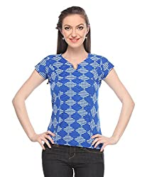 Wearsense Women's Top (Blue and White, Medium)