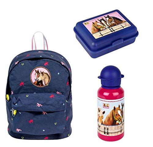 spiegelburg pferdefreunde blue edition kleiner rucksack set 3tlg mit alu trinkflasche und. Black Bedroom Furniture Sets. Home Design Ideas