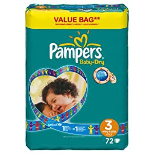Pampers Baby Dry Windeln Gr.3 Midi 4-9kg Value Bag, 72 Stück