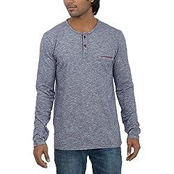Inego Men's Casual Round Neck T- Shirt (Indigo )