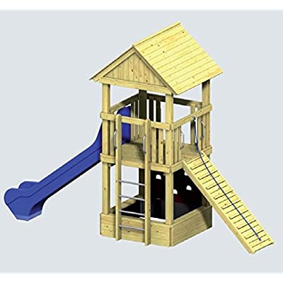 Winnetoo PRO Komplettanlage 1 - 5124 - Spielturm DIN EN 1176 öffentlich inkl. Rutsche blau