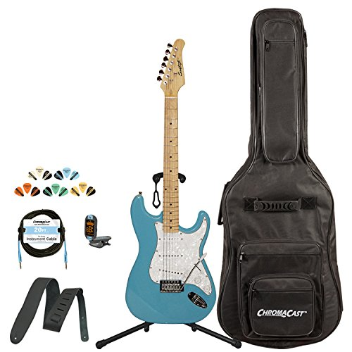 Sawtooth St-Es60-Blcp-Kit-1 Classic Es 60 Alder Body Electric Guitar - Classic Aero Blue With Gig Bag, Cable, Picks, Strap, Tuner And Stand
