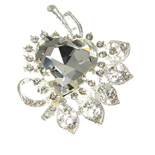 Valdler Fashion Jewelry Large Heart Leaf Rhinestone Silver-Tone Crystal Brooch Pin image