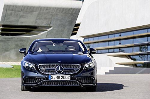 "Mercedes-Benz S 65 Amg Coupé (2014) Car Art Poster Print On 10 Mil Archival Satin Paper Black Front Static View 17""X11"""