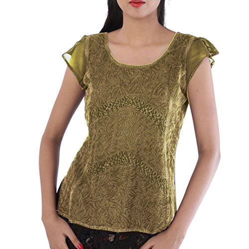Skirts & Scarves Embroidered Rayon Short Sleeves Top For Women (Green)