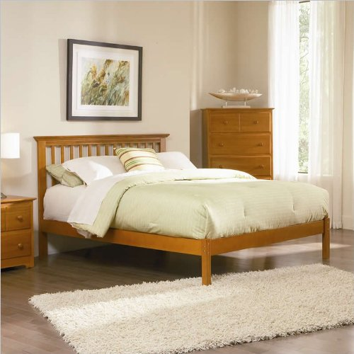 Twin Atlantic Furniture Studio Mission Platform Bed with Open Footrail in Caramel Latte