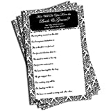 How Well Do You Know the Bride and Groom - Bridal Shower - Wedding - Black and White Damask (50-sheets)