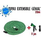 Nouveau Tuyau extensible Génial 23 M + Pistolet 8 jets + 2 Joints + Embouts Raccord Universel de Génial GARDEN by GREENTECH