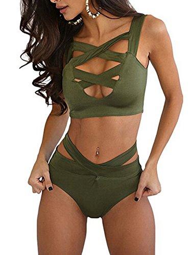 Bikini Costume da bagno sexy Criss Cross a vita alta benda 2PCS delle donne