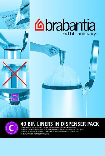 Brabantia Smartfix Bin Liners, Size C, 10-12 Litre, 40 Bag Dispenser Pack