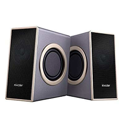 Computer Speakers, Mixcder MSH169 Home PC 3.5mm Speaker with Subwoofer USB 2.0 Powered Stereo Sound, Laptop Volume Control Audio Powered Mini Multimedia Speakers(4ft line)