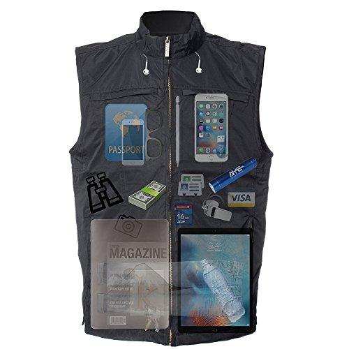 AyeGear V26 Gilet con 26 Tasche, due tasche per iPad o Tablet, resistente all'acqua, leggero, traspirante