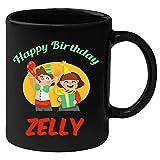 Huppme Happy Birthday Zelly Black Ceramic Mug (350 ml)