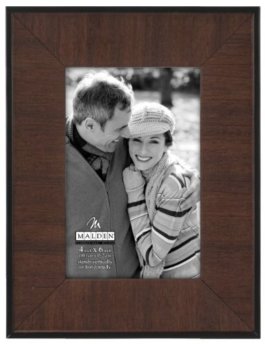 Malden 2-Tone Walnut Edge Wood Picture Frame, 4 by 6-Inch