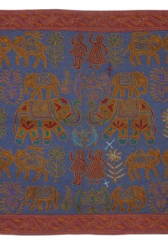 Imagen 1 de Algodón tapiz Tapiz Adorna con bordado tradicional Tamaño 58 x 33 pulgadas