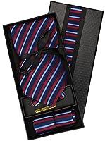 Set Cravates 4 pieces Cravates 9,5cm + Mouchoir + Boutons de manchette + pince cravate 100% soie en plusieurs couleurs et designs