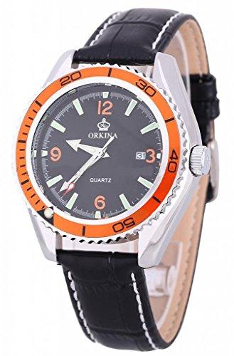 Orkina Hot Deals Date Calendar Analog Leather Men Sport Wrist Quartz Watch-Orange Design