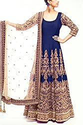 Snapyshopy Wonderful Blue Colord Fully Embroidered Banglori Silk Anrkali Suit