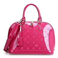 Fineplus Ladies Purses New Retro Split Cow Patent Embossinng Leather Handbags Rose Red
