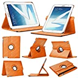 Stuff4 Leather Smart Case with 360 Degree Rotating Swivel Action and Free Screen Protector/Stylus Touch Pen for 8 inch Samsung Galaxy Note N5100/N5110/N5120 - Orange