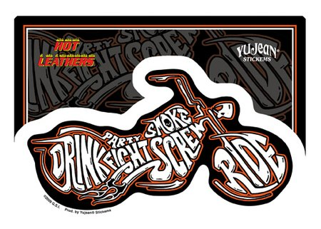 Hot Leathers - Drink Ride Fight Motorcycle - Sticker / Decal