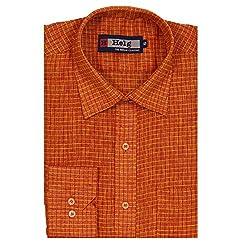 HELG Men's Comfort Fit Full Sleeves Rust Checks Linen Formal Shirt