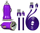 Wayzon Purple Vehical Travel iN Car Charger Adapter In Bullet Shape With Flat 2.0 Micro USB Sync Data Cable Lead Suitable For BlackBerry Curve 9220 / 9320 / 9350 / 9360 / 9370 / 9380