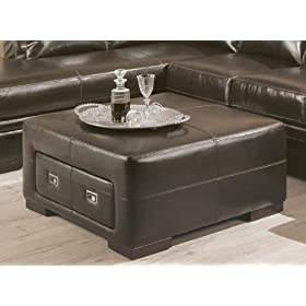 Contemporary Dark Brown Bycast Leather Storage Cocktail Coffee Table Ottoman
