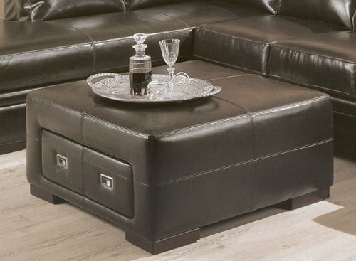 Contemporary dark brown leather storage cocktail coffee table ottoman Dark brown leather ottoman coffee table
