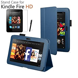 iZKA® - Amazon Kindle FIRE HD 7 inch (2012 Version) Leather Case Cover and Flip Stand Cover Typing Case with Magnetic Sleep Wake Sensor + Screen Protector + Stylus Pen Touch Screen Pen Accessory Pack - Dark Blue