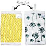 Kaydee Baby Organic Cotton Reversible Teething, Drool & Dribble, Chew Pads w/ Polyester Fleece Inner Lining for Baby Carriers for Girls and Boys (Dandelions) - 2 Pack