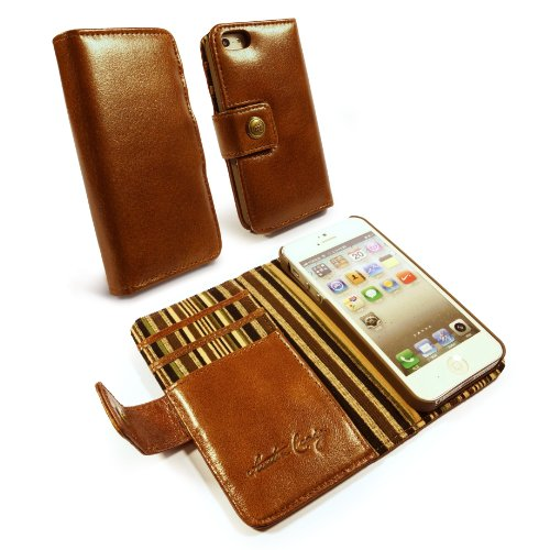 Great Price Ashton Craig Vintage Genuine Leather Wallet Case Cover for Apple iPhone 5 / 5s (Olive striped) (free Screen Protector) - Brown