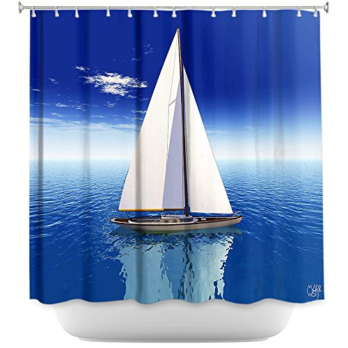 DiaNoche Designs Shower Curtains Stylish, Decorative, Unique, Cool, Fun, Funky Bathroom - Sail