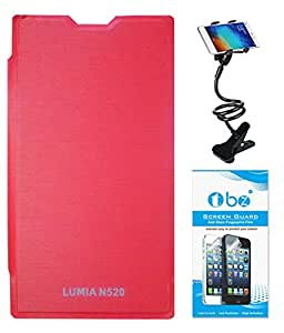 TBZ Flip Cover Case for Nokia Lumia 520/525 with Flexible Lazy Stand and Screen Guard -Red