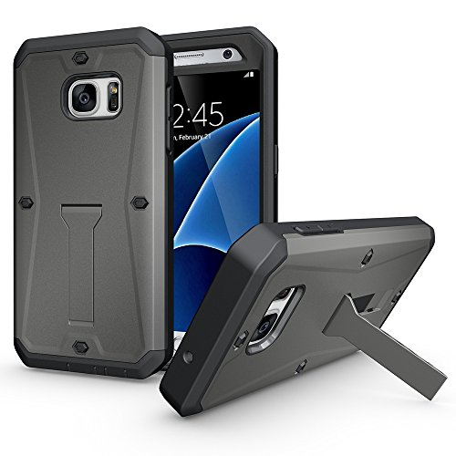 OnPrim Tank Armor Heavy Duty Series Flexible Rubber And Hard PC 3 In 1 Hybrid Defend Case Built-in Kickstand Holder For Samsung Galaxy S7 Edge 5.5 Inth Grey