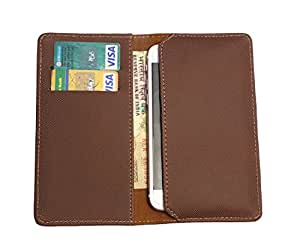 FING ™ Logo Brown Dotted Designer Wallet Pouch Mobile Cover Case with Card holder Slots for Sony Xperia P